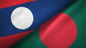 Ткань ткани флагов Лаоса и Бангладеша 2, текстура ткани иллюстрация вектора