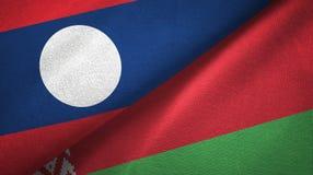Ткань ткани флагов Лаоса и Беларуси 2, текстура ткани иллюстрация вектора