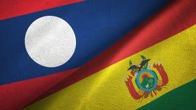 Ткань ткани флагов Лаоса и Боливии 2, текстура ткани иллюстрация штока