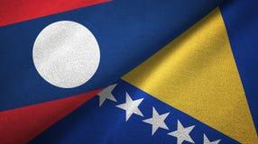 Ткань ткани флагов Лаоса и Боснии и Герцеговины 2, текстура ткани бесплатная иллюстрация