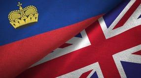 Ткань ткани флагов Лихтенштейна и Великобритании 2, текстура ткани иллюстрация вектора