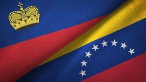 Ткань ткани флагов Лихтенштейна и Венесуэлы 2, текстура ткани бесплатная иллюстрация