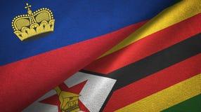 Ткань ткани флагов Лихтенштейна и Зимбабве 2, текстура ткани иллюстрация вектора