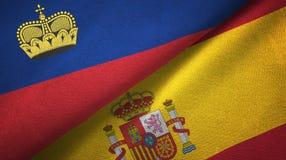 Ткань ткани флагов Лихтенштейна и Испании 2, текстура ткани иллюстрация вектора