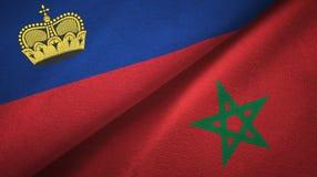 Ткань ткани флагов Лихтенштейна и Марокко 2, текстура ткани иллюстрация вектора