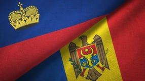 Ткань ткани флагов Лихтенштейна и Молдавии 2, текстура ткани иллюстрация штока