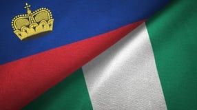 Ткань ткани флагов Лихтенштейна и Нигерии 2, текстура ткани бесплатная иллюстрация