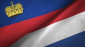 Ткань ткани флагов Лихтенштейна и Нидерланд 2, текстура ткани иллюстрация штока