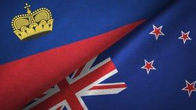 Ткань ткани флагов Лихтенштейна и Новой Зеландии 2, текстура ткани бесплатная иллюстрация