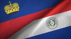 Ткань ткани флагов Лихтенштейна и Парагвая 2, текстура ткани иллюстрация штока