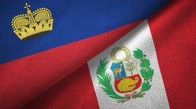 Ткань ткани флагов Лихтенштейна и Перу 2, текстура ткани иллюстрация штока