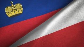 Ткань ткани флагов Лихтенштейна и Польши 2, текстура ткани иллюстрация вектора