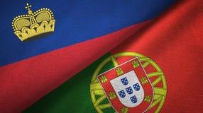 Ткань ткани флагов Лихтенштейна и Португалии 2, текстура ткани бесплатная иллюстрация