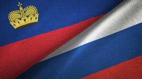 Ткань ткани флагов Лихтенштейна и России 2, текстура ткани бесплатная иллюстрация