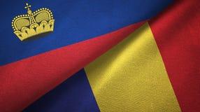 Ткань ткани флагов Лихтенштейна и Румынии 2, текстура ткани бесплатная иллюстрация
