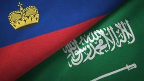 Ткань ткани флагов Лихтенштейна и Саудовской Аравии иллюстрация штока