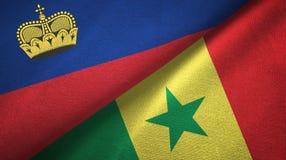 Ткань ткани флагов Лихтенштейна и Сенегала 2, текстура ткани бесплатная иллюстрация