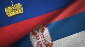 Ткань ткани флагов Лихтенштейна и Сербии 2, текстура ткани иллюстрация вектора