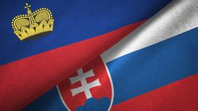 Ткань ткани флагов Лихтенштейна и Словакии 2, текстура ткани иллюстрация штока