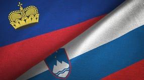 Ткань ткани флагов Лихтенштейна и Словении 2, текстура ткани иллюстрация штока
