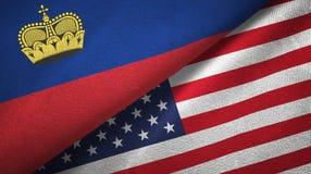 Ткань ткани флагов Лихтенштейна и Соединенных Штатов 2, текстура ткани иллюстрация штока