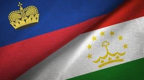 Ткань ткани флагов Лихтенштейна и Таджикистана 2, текстура ткани иллюстрация штока