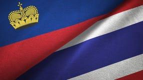 Ткань ткани флагов Лихтенштейна и Таиланда 2, текстура ткани иллюстрация вектора
