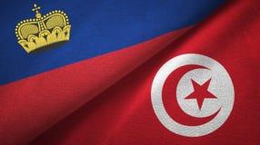 Ткань ткани флагов Лихтенштейна и Туниса 2, текстура ткани иллюстрация вектора