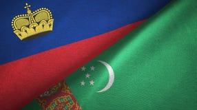 Ткань ткани флагов Лихтенштейна и Туркменистан 2, текстура ткани бесплатная иллюстрация