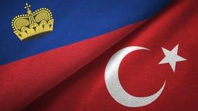 Ткань ткани флагов Лихтенштейна и Турции 2, текстура ткани иллюстрация вектора