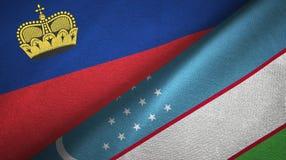 Ткань ткани флагов Лихтенштейна и Узбекистана 2, текстура ткани бесплатная иллюстрация