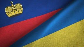 Ткань ткани флагов Лихтенштейна и Украины 2, текстура ткани бесплатная иллюстрация
