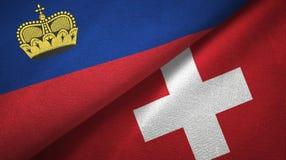 Ткань ткани флагов Лихтенштейна и Швейцарии 2, текстура ткани иллюстрация вектора