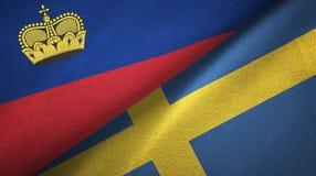 Ткань ткани флагов Лихтенштейна и Швеции 2, текстура ткани бесплатная иллюстрация