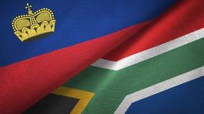 Ткань ткани флагов Лихтенштейна и Южной Африки 2, текстура ткани иллюстрация штока
