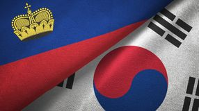 Ткань ткани флагов Лихтенштейна и Южной Кореи 2, текстура ткани бесплатная иллюстрация
