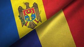 Ткань ткани флагов Молдавии и Румынии 2, текстура ткани иллюстрация вектора