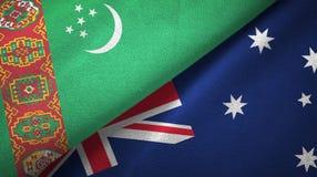 Ткань ткани флагов Туркменистан и Австралии 2, текстура ткани иллюстрация вектора