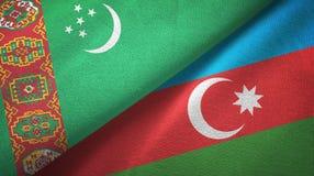 Ткань ткани флагов Туркменистан и Азербайджана 2, текстура ткани иллюстрация штока
