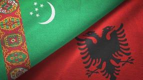 Ткань ткани флагов Туркменистан и Албании 2, текстура ткани иллюстрация штока