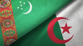Ткань ткани флагов Туркменистан и Алжира 2, текстура ткани иллюстрация штока