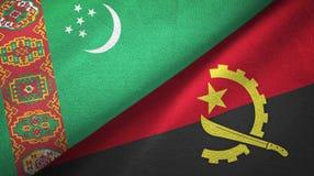 Ткань ткани флагов Туркменистан и Анголы 2, текстура ткани бесплатная иллюстрация