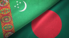 Ткань ткани флагов Туркменистан и Бангладеша 2, текстура ткани иллюстрация вектора