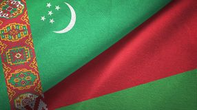 Ткань ткани флагов Туркменистан и Беларуси 2, текстура ткани иллюстрация вектора