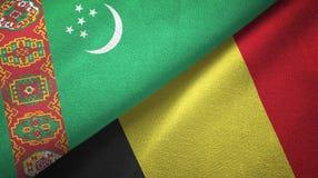 Ткань ткани флагов Туркменистан и Бельгии 2, текстура ткани иллюстрация штока