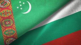 Ткань ткани флагов Туркменистан и Болгарии 2, текстура ткани иллюстрация штока