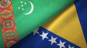 Ткань ткани флагов Туркменистан и Боснии и Герцеговины 2, текстура ткани иллюстрация штока