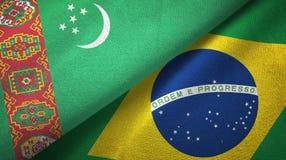 Ткань ткани флагов Туркменистан и Бразилии 2, текстура ткани иллюстрация штока