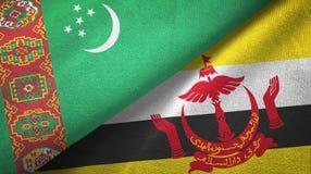 Ткань ткани флагов Туркменистан и Бруней 2 иллюстрация штока