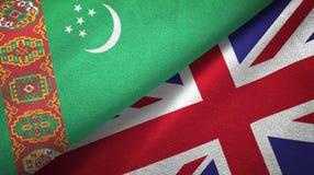 Ткань ткани флагов Туркменистан и Великобритании 2, текстура ткани иллюстрация вектора
